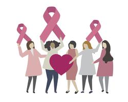 Woman with breast cancer awareness concept illustration