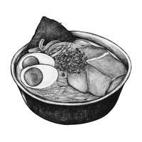 Dibujado a mano ramen plato japonés