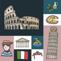 Set of iconic Italian landmarks