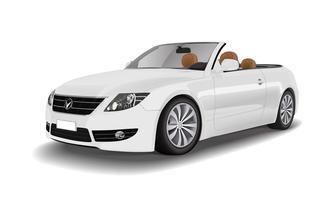 Carro conversível branco isolado no branco vector