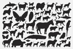 Conjunto de silhuetas de animais mistos