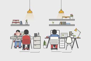 Ilustración de una oficina y trabajadores de oficina