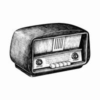 Hand drawn retro radio isolated on background