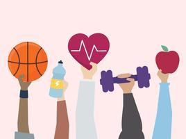 Ilustração do exercício e conceito de estilo de vida saudável