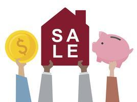 Ilustração de uma casa à venda