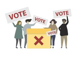 People holding no vote signs illustration