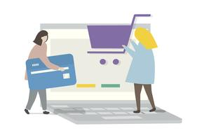 Illustration des Online-Shopping der Charaktere