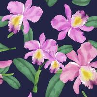 Motif de fleur d'orchidée dessiné à la main