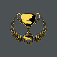 Trofeo o tazza con foglie illustrazione