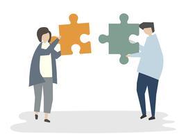 Illustration du concept de travail d'équipe avatar de personnes