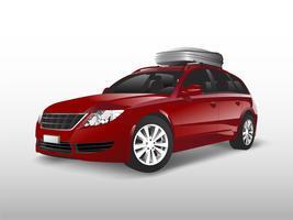 SUV vermelho com uma caixa de armazenamento de teto