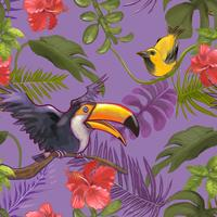 Tropische Pflanzen und bunte Vögel und Blumen