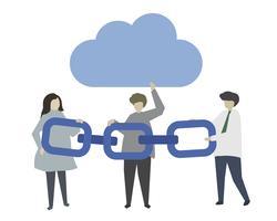 Blockchain- und Wolkenspeicherillustration