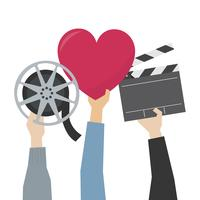 Hands showing movie passion illustration