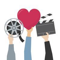 Mani che mostrano l'illustrazione di passione del film