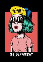 Ser diferente garota legal ilustração criativa