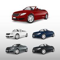 Set van kleurrijke converteerbare auto vector