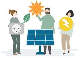 Illustration av människor med naturresurser