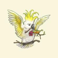 Dibujado a mano pájaro cacatúa aislado