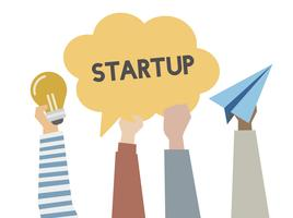 Illustration of startup and creative ideas concept