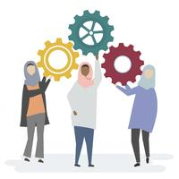 Illustration of Muslim women characters with cogwheels