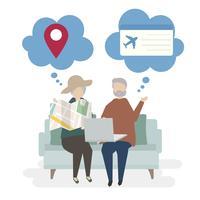 Ilustração de personagens de casal sênior com conceito de viagem
