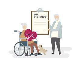 Ilustração de idosos com seguro de vida