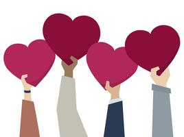Illustration of diverse people holding hearts
