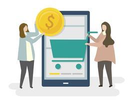 Illustration av online shopping e-handel