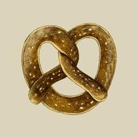 Ilustración de un pretzel al horno