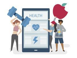 Illustartion de pessoas com aplicação de cuidados healh