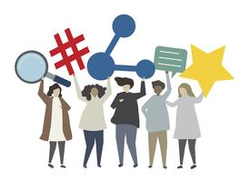 Sozialnetz- und Verbindungskonzeptillustration