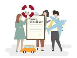 Illustration of people with travel insurance vector