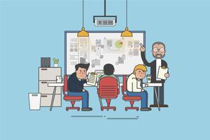 Ilustração de um escritório e trabalhadores de escritório