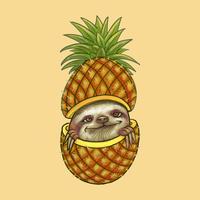 Leuke luiaard die door een ananasillustratie gluren