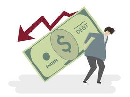 Illustration of a man in debt vector
