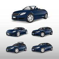 Conjunto de vetores de carros azuis