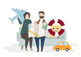 Illustrazione dei personaggi delle coppie con il concetto di viaggio