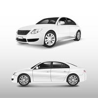 White sedan car isolated on white vector