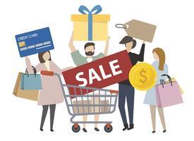Personnes détenant des icônes de shopping concept illustration