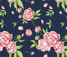 Handritad rosa peonmönster