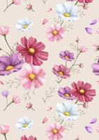 Dibujado a mano patrón de flores cosmos