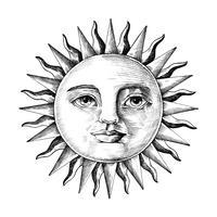 Hand gezeichnete Sonne mit Gesicht