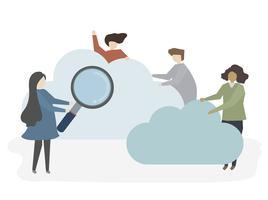 Ilustración de personas buscando y navegando.