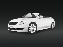 White convertible car in a black background vector