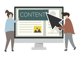 Illustration av tecken och webbinnehåll
