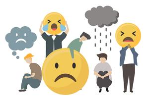 People with sad emotion emoticon icon illustration