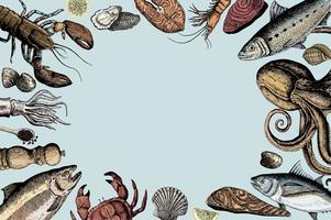 Hand getrokken van zeevruchten concept