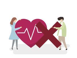 Ilustración de personas con un corazón insalubre.