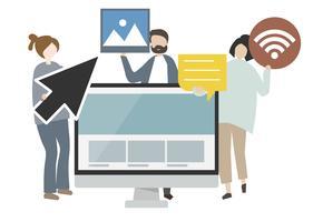 Ilustração de personagens e conceito de internet